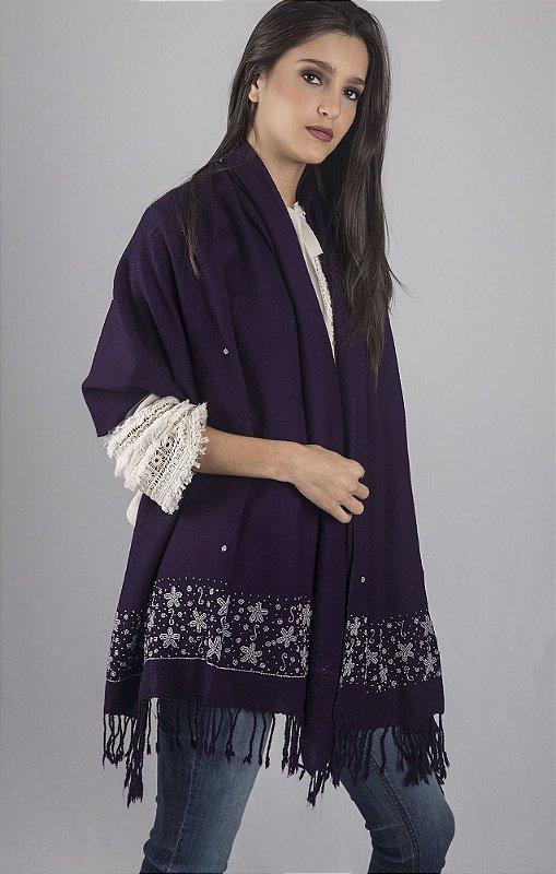Pashmina de lã da Kashmira roxa com bordado em vidrilhos