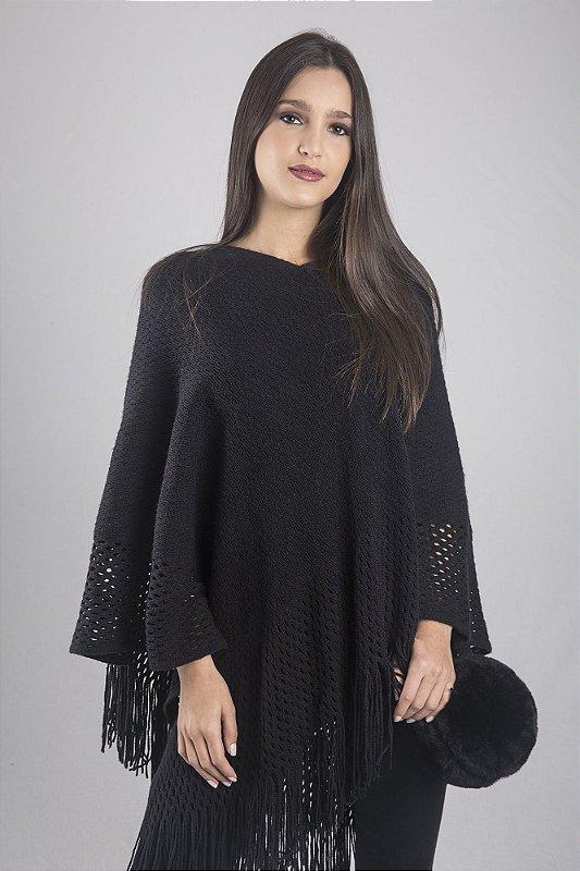 Poncho preto de lã acrílica com elastano