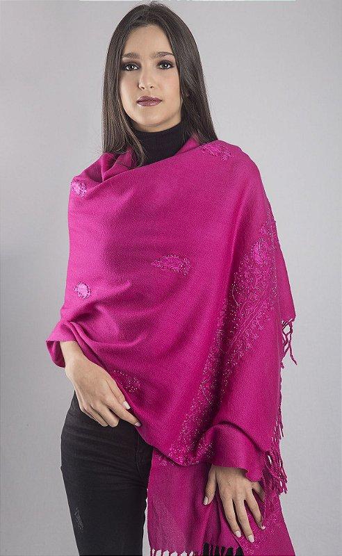 Pashmina 100%  lã da Kashmira pink bordado paisley com vidrilho