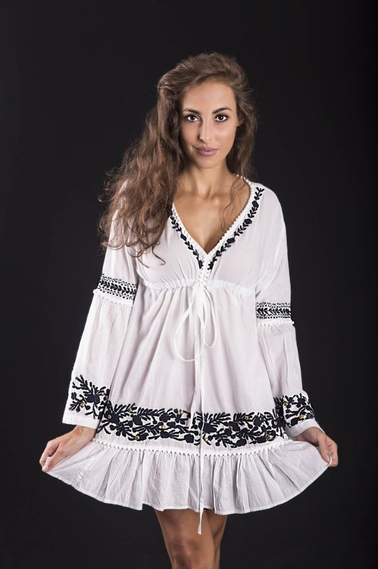 Bata Mini Vestido Lakshmi Branca e Marinho