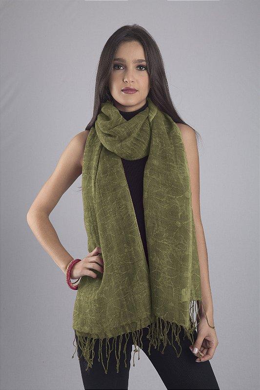 Pashmina 100% lã da Kashmira fina Estempa Batik Verde