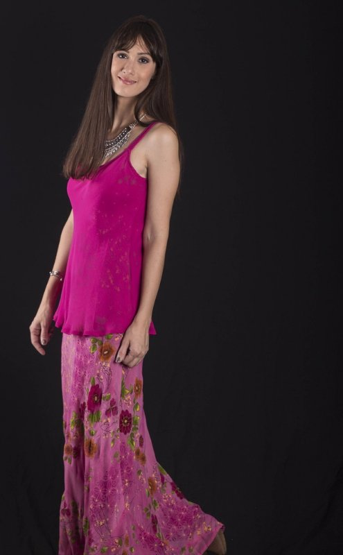 Vestido floral pink com regata crepe georgette