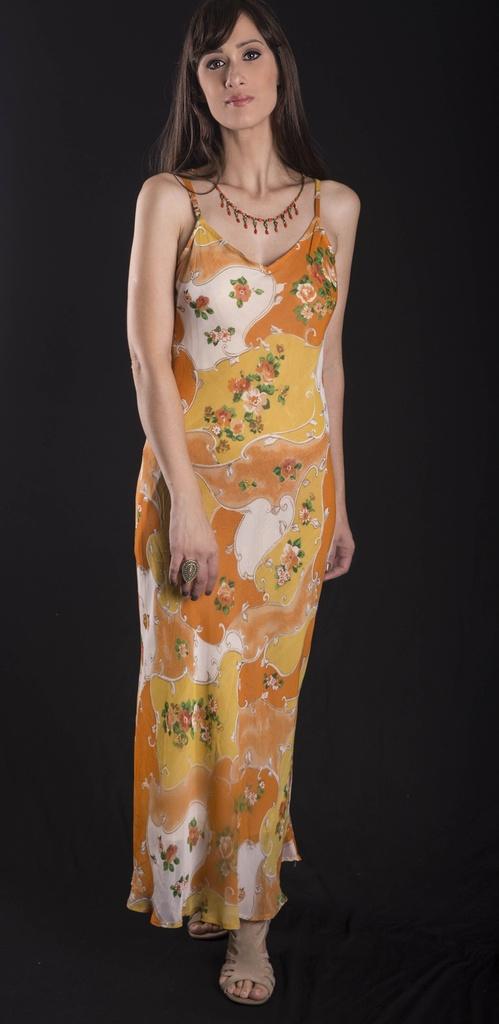 Vestido crepe georgette laranja floral