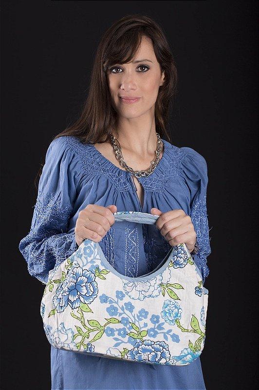 Bolsa de Algodão Bordada Paetê Branca Floral Turquesa