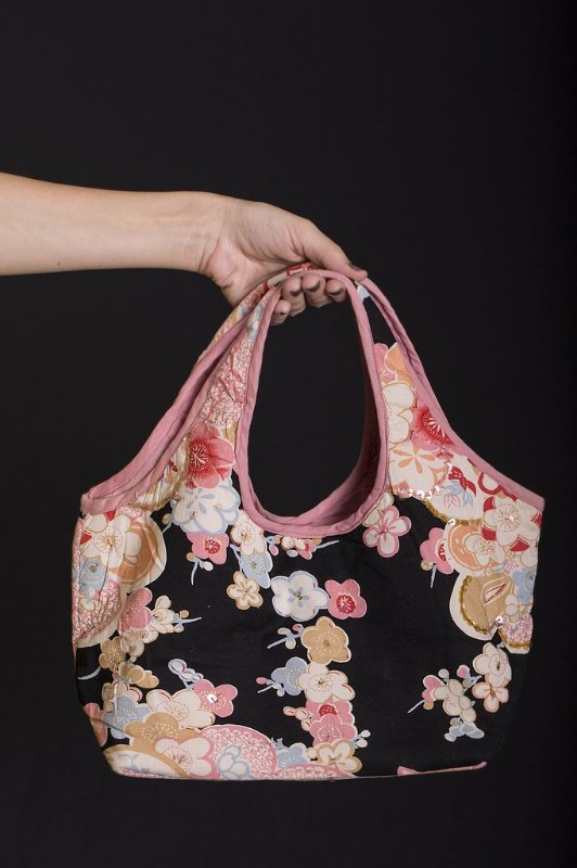Bolsa de Algodão Floral Preta