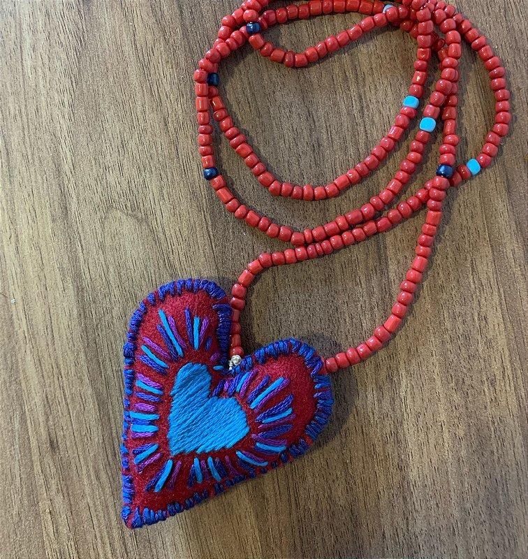 Colar Heart Boho Red
