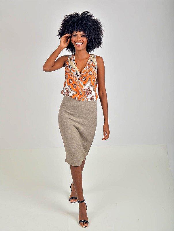 Vestido Tubinho Linho Vanity Crepe Marrocain