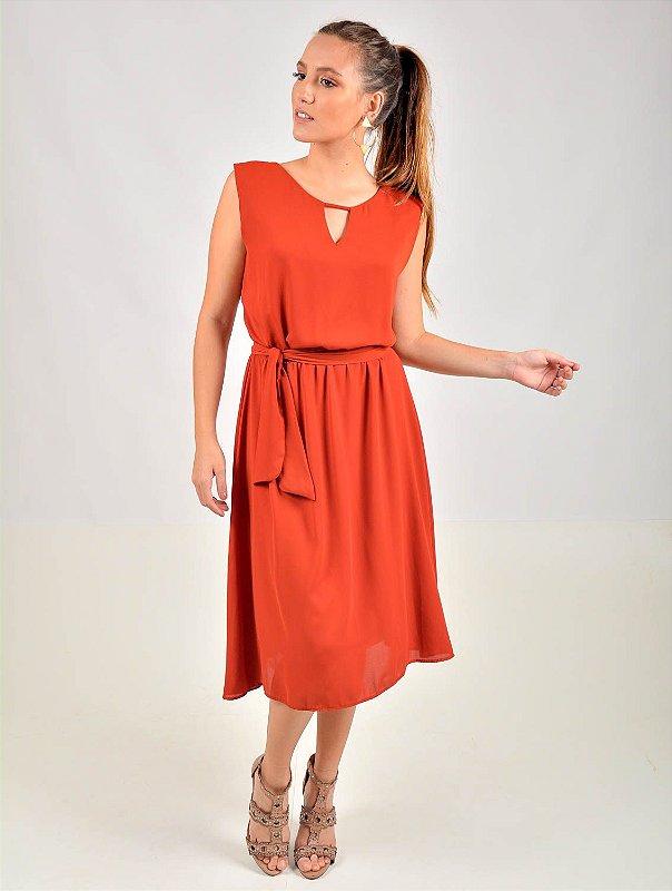 Vestido Crepe Midi Palito com Faixa