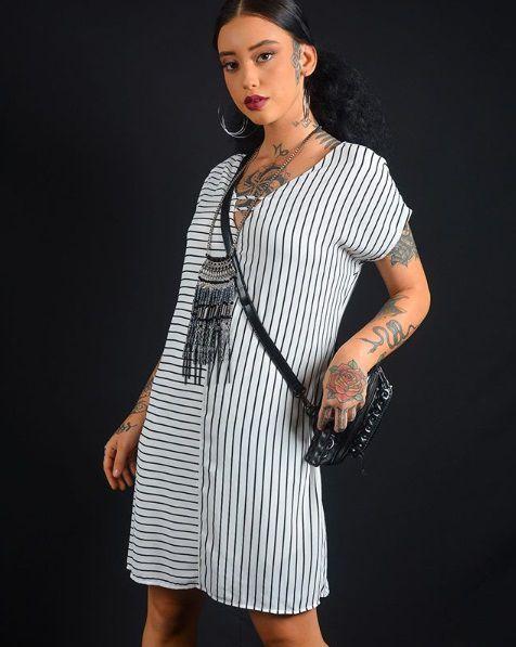 Vestido Crepe Listrado Básico