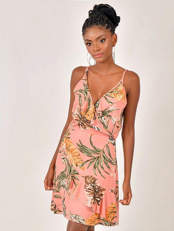 Vestido Viscose Floral Traspasse Babado Alcinha