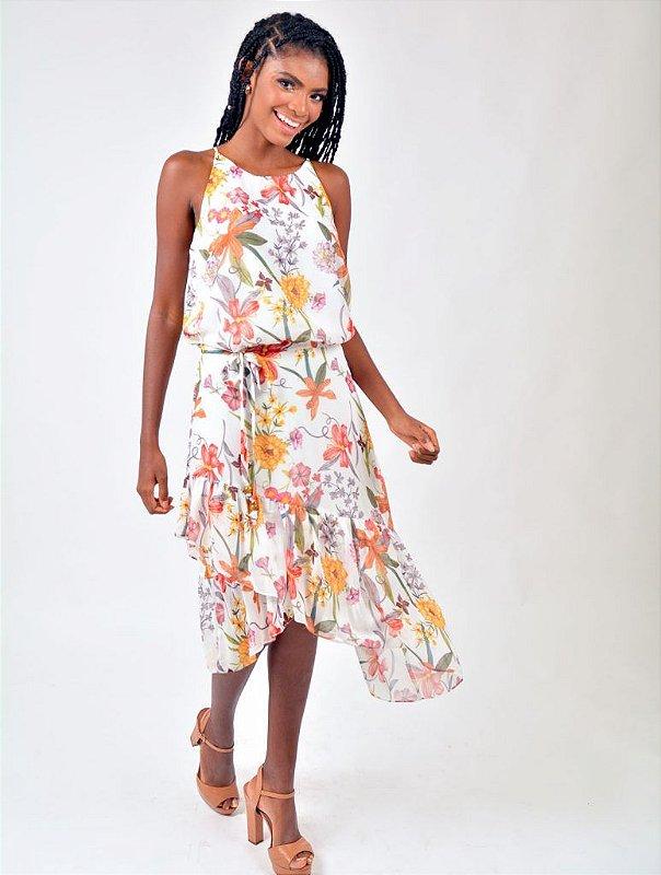 Vestido Chiffon Floral Ponta