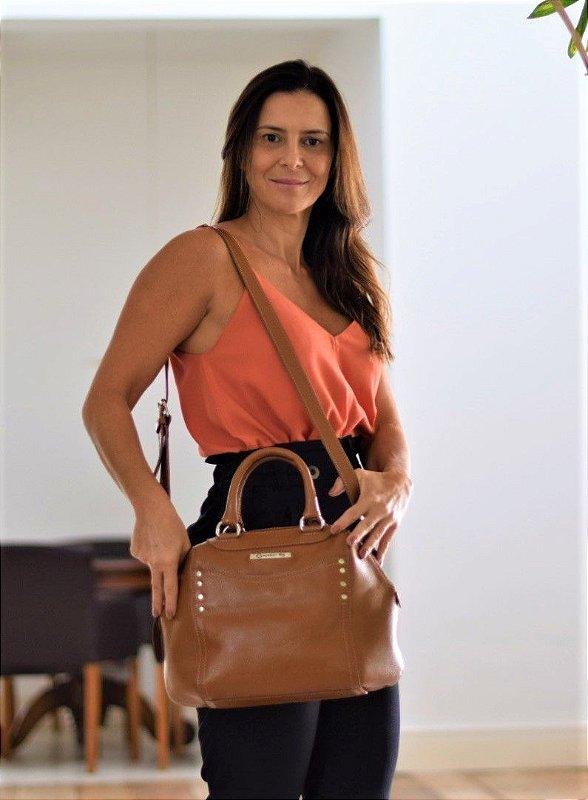 Bolsa Tiracolo Transversal Média Feminina de Couro Marrom Luiza