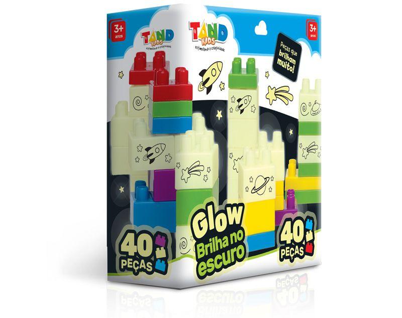 Blocos de montar, tipo lego, brilha no escuro - TAND KIDS - GLOW 40 PECAS