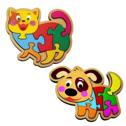 CJ 2 Quebra-cabeças infantis - gato e cachorro em  madeira