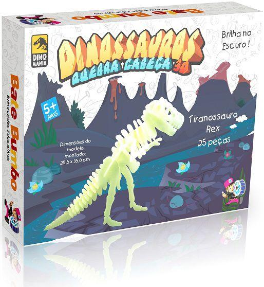 Quebra Cabeça 3D Dinossauro Tiranossauro T-Rex - Brilha no Escuro 25 peças