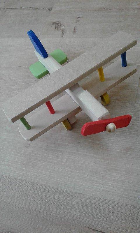 Avião para colorir de madeira - Brinquedo Educativo
