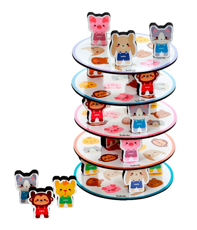 Empilhe os Bichinhos - Babebi - Brinquedo Educativo Empilhar torre de equilíbrio