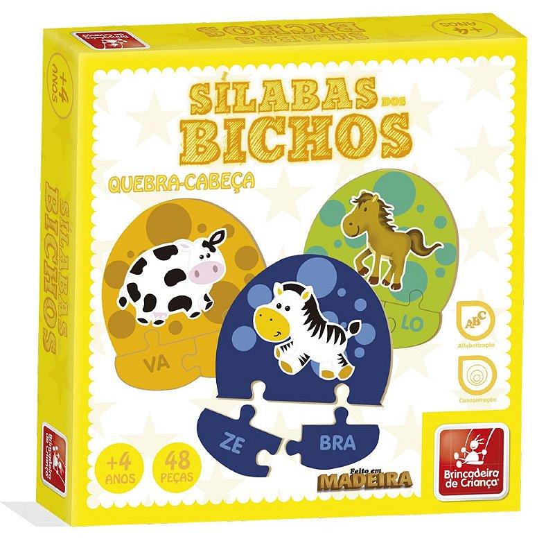 SÍLABAS DOS BICHOS - Brinquedo Pedagógico Letras e alfabetização quebra-cabeça