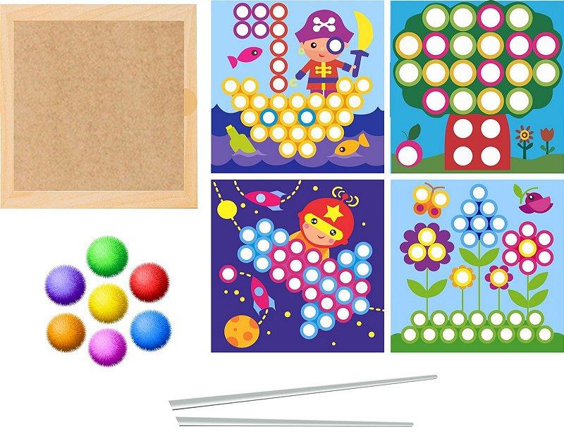 Mosaico Educativo com Pompons coloridos