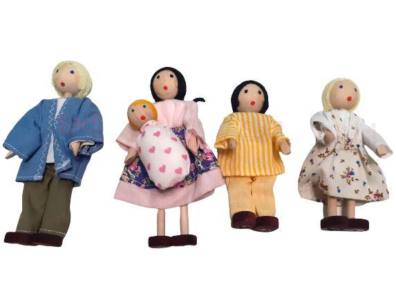 Kit Bonecos Familia Branca com Bebê (5 bonecos)