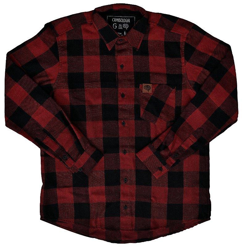 Camisa Lumberjack Vinho com preto