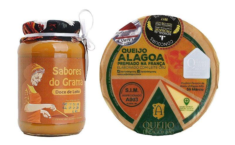 Kit Sabores de Minas 🔺 Queijo Artesanal D'alagoa e Doce de Leite Tradicional Sabores do Grama