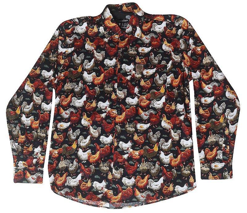 Camisa Galinhas Preta