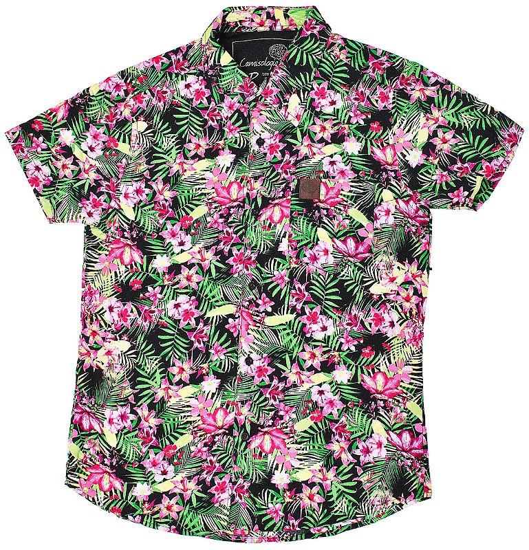Camisa Floral Black Pink