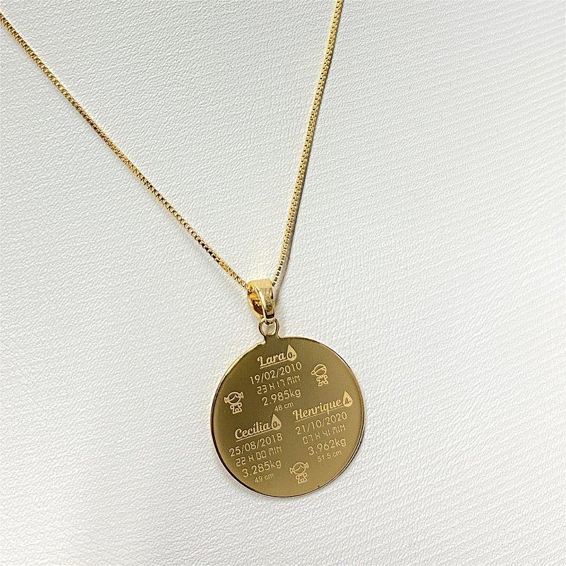 Gargantilha Mandala Personalizada 3 Filhos(as) - Banhado a Ouro 18k
