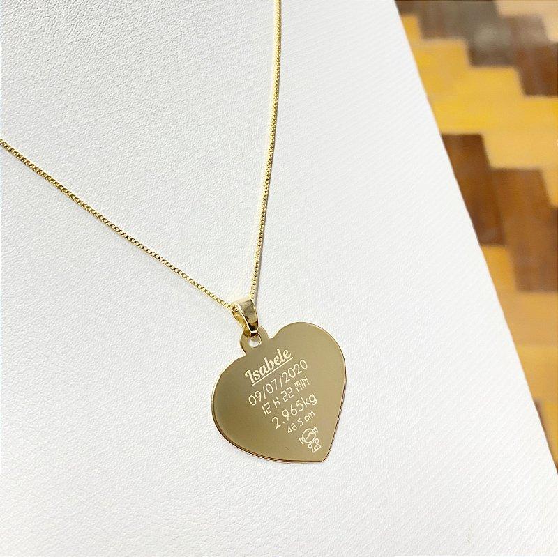 Gargantilha Coração Grande Personalizado 1 Filho(a) - Banhado a Ouro 18k
