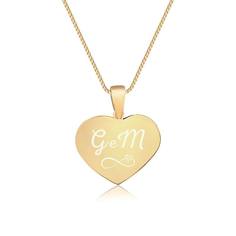 Gargantilha Coração Pequeno Personalizado Iniciais Casal - Banhado a Ouro 18k