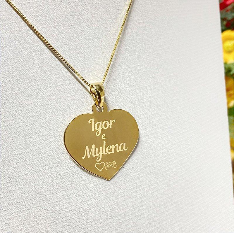 Gargantilha Coração Grande Personalizado Nomes Casal - Banhado a Ouro 18k