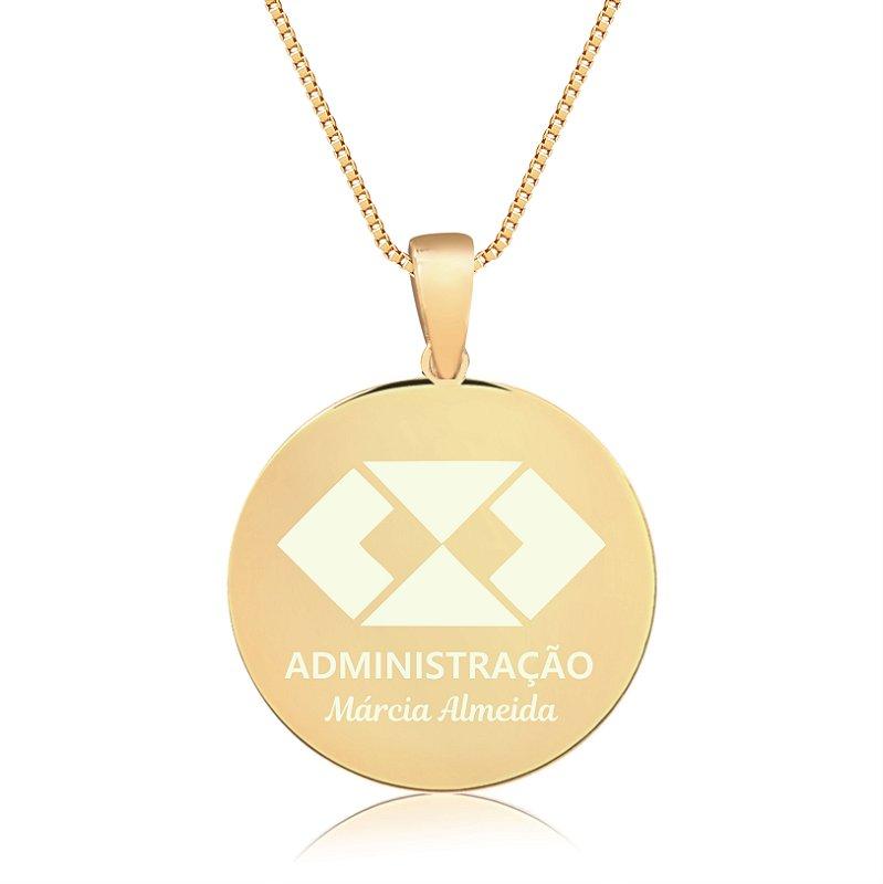 Gargantilha Mandala Personalizada qualquer Curso ou Profissão - Banhado a Ouro 18k