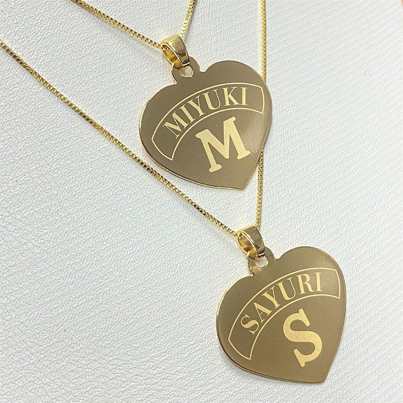 Gargantilha Coração Grande Personalizado com Nome ou Inicial - Banhado a Ouro 18k