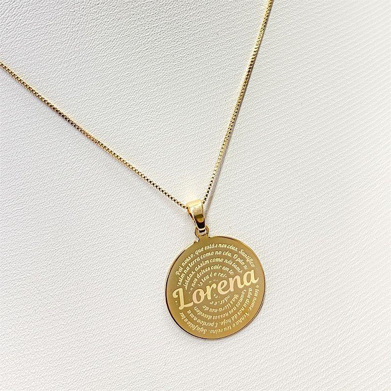 Gargantilha Mandala Personalizada Pai Nosso Evangélico - Banhado a Ouro 18k