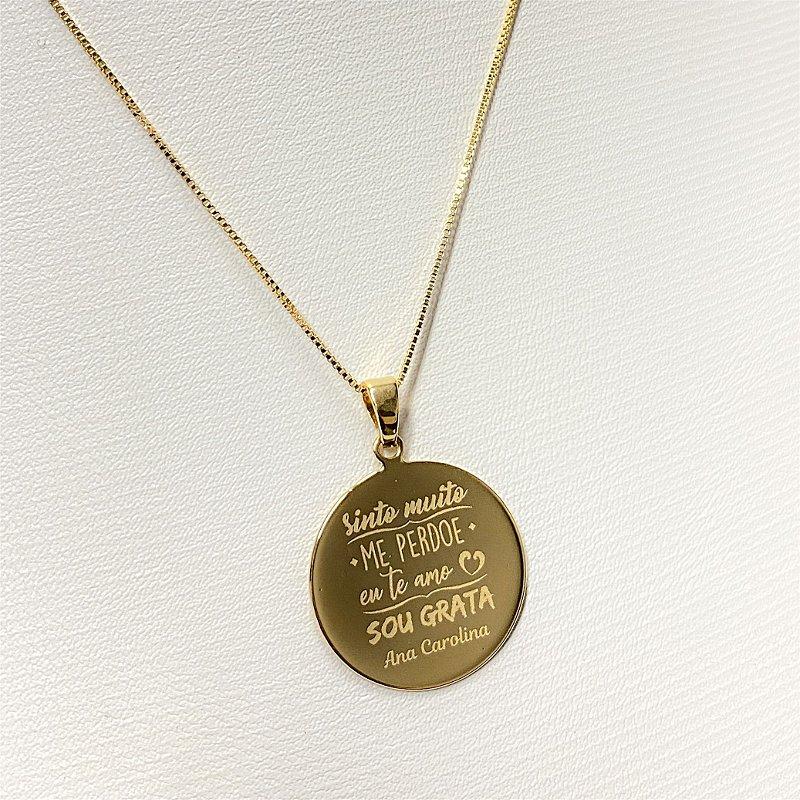 Gargantilha Mandala Personalizada Ho'oponopono - Banhado a Ouro 18k