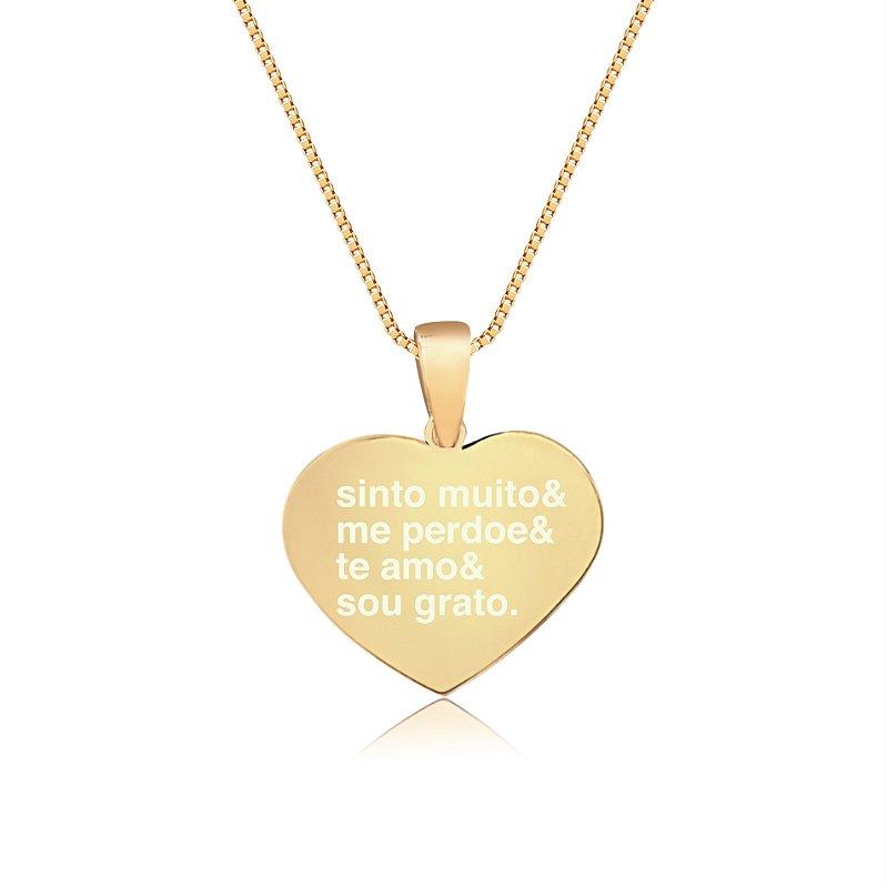 Gargantilha Coração Pequeno Personalizado Ho'oponopono - Banhado a Ouro 18k