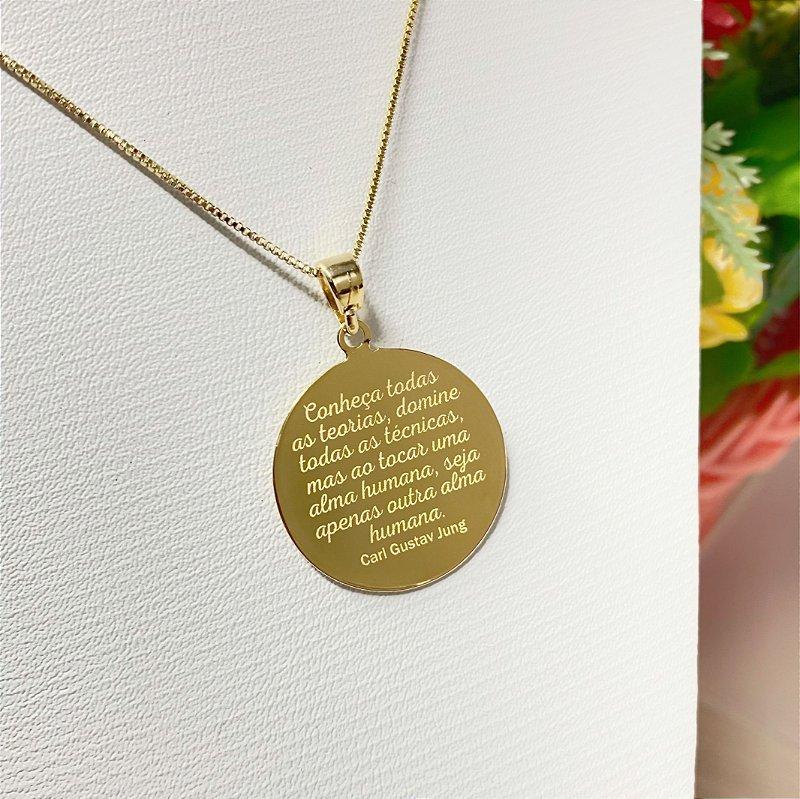 Gargantilha Mandala Personalizada Frases - Banhado a Ouro 18k