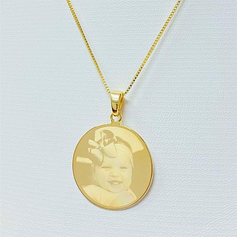 Gargantilha Mandala Personalizada Fotogravação - QUALQUER FOTO - Banhado a Ouro 18k