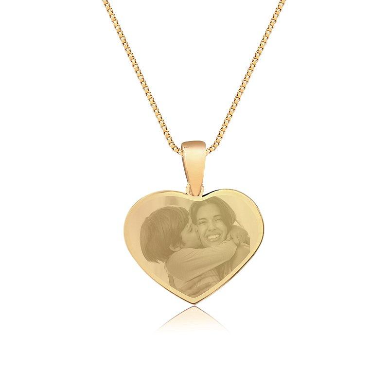 Gargantilha Coração Pequeno Personalizado Fotogravação - QUALQUER FOTO - Banhado a Ouro 18k
