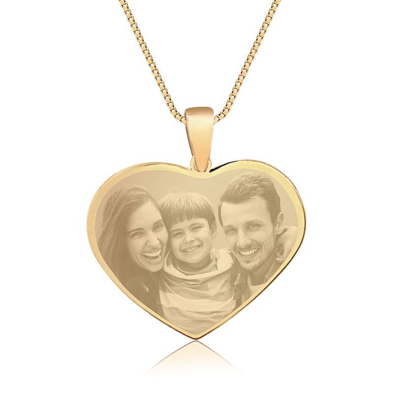 Gargantilha Coração Grande Personalizado Fotogravação - QUALQUER FOTO - Banhado a Ouro 18k