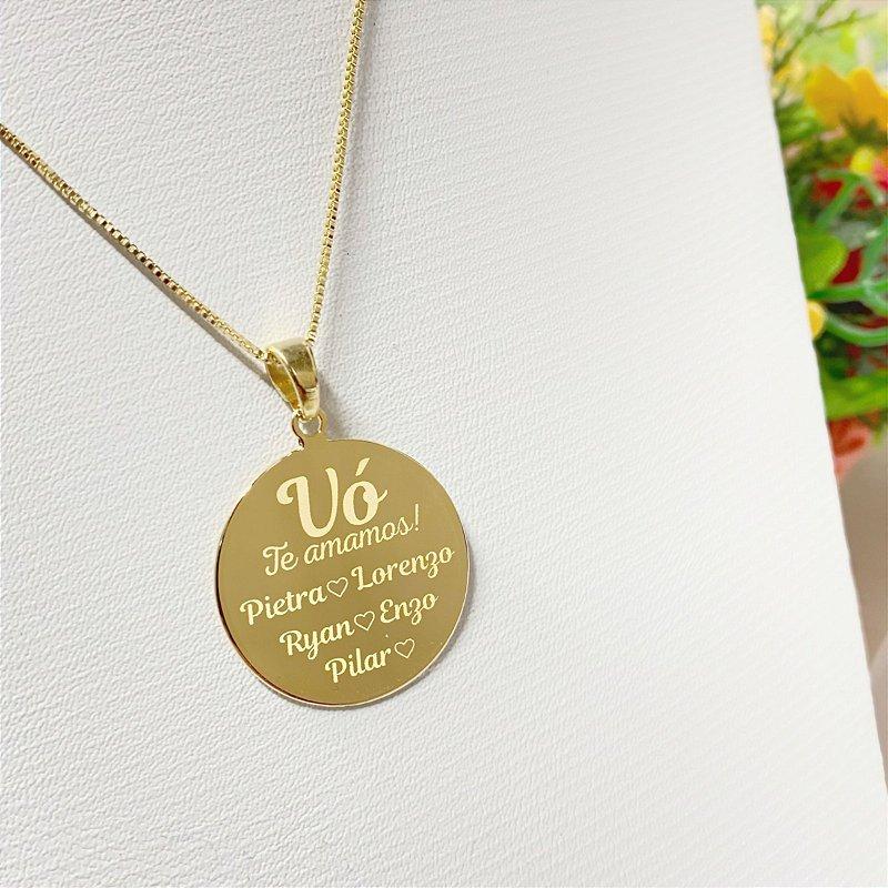 Gargantilha Mandala Personalizada Vó/Netos - Banhado a Ouro 18k