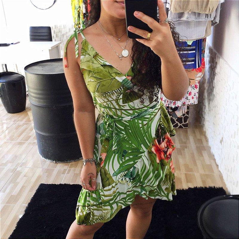 Vestido transpassado verde