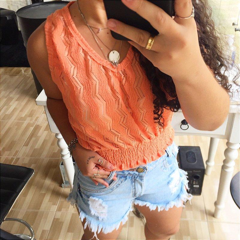 Blusa renda laranja
