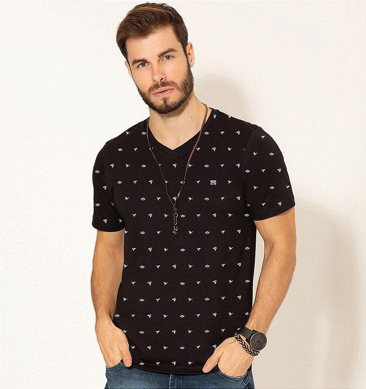 Camiseta Motivos Decote 'V' Premium Com Elastano Rudély 3532