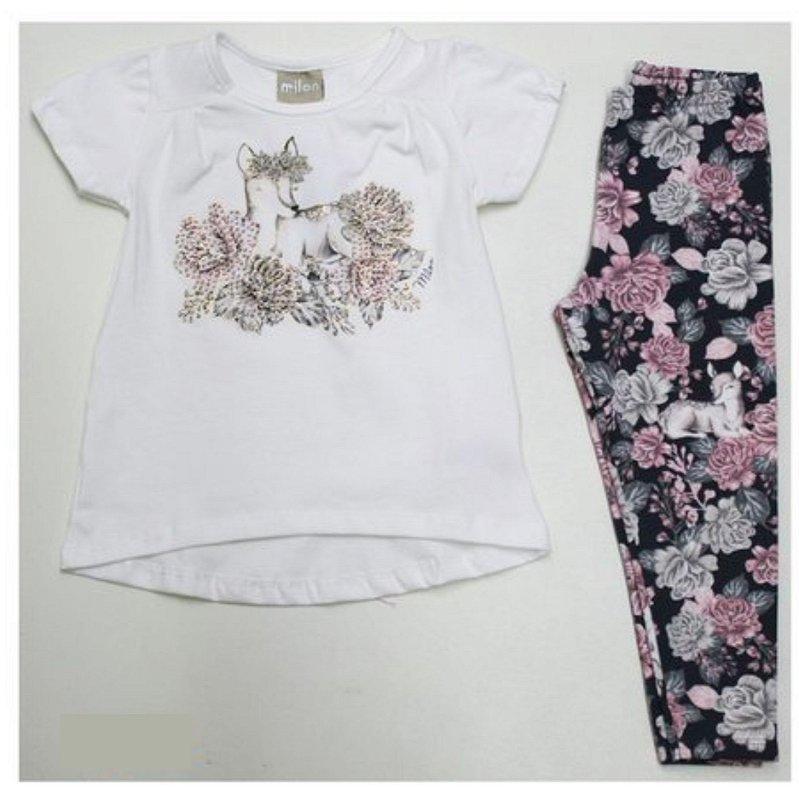 Conjunto 2pçs Milon Curto Infantil Floral Rosa 12347