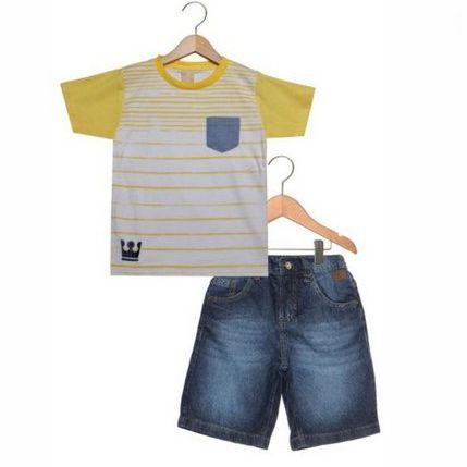 Conjunto 2 peças Listras Bolso Bordado Branco/Amarelo/Azul com Bermuda Jeans Coloritta 17954