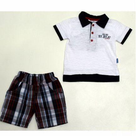 Conjunto com Camisa Flamê Pólo Infantil e Bermuda Tricolini Xadrez Paraíso 4717