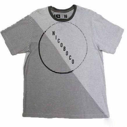 Camiseta Gola Redondo Listrada Manga Curta Nicoboco 22089