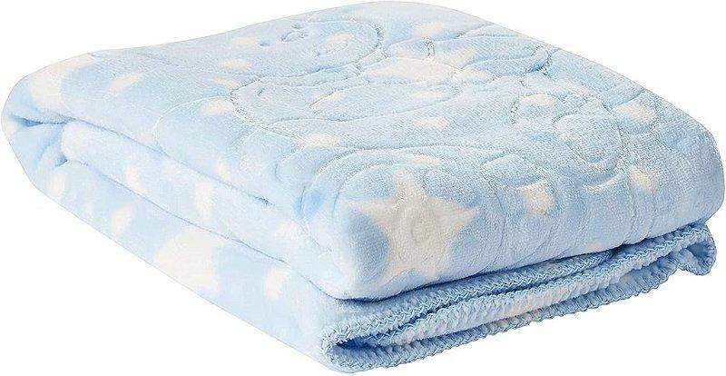 Cobertor Baby Super Soft em Relevo Estampado, Jolitex, 100% Poliéster, Azul, Infantil